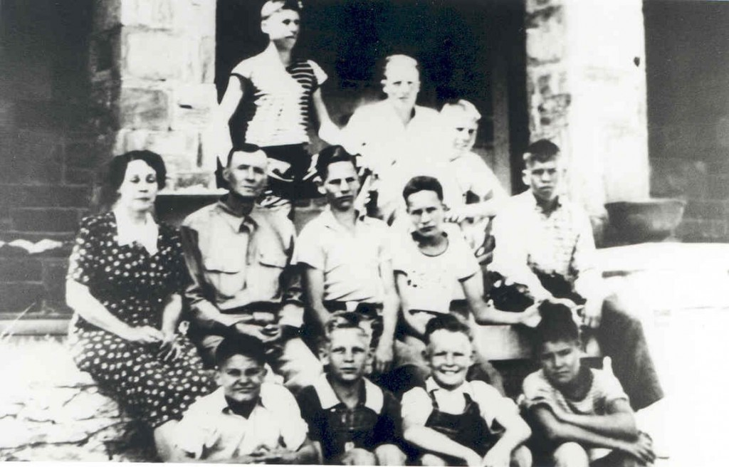 Photo of the first 9 boys to live at Boys Ranch and their houseparents