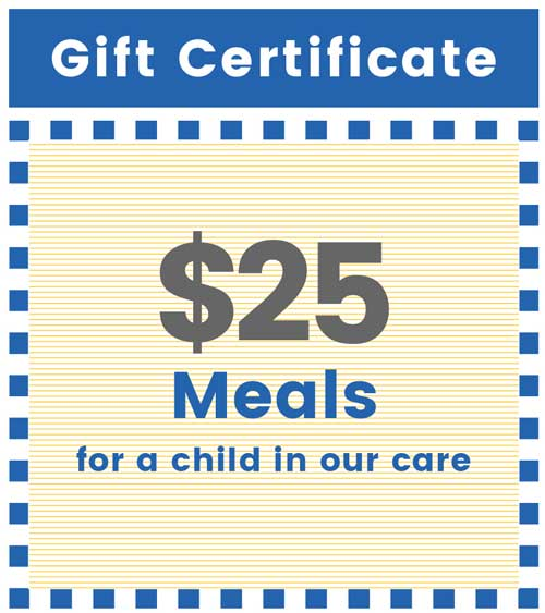 Give $25 for meals for a child