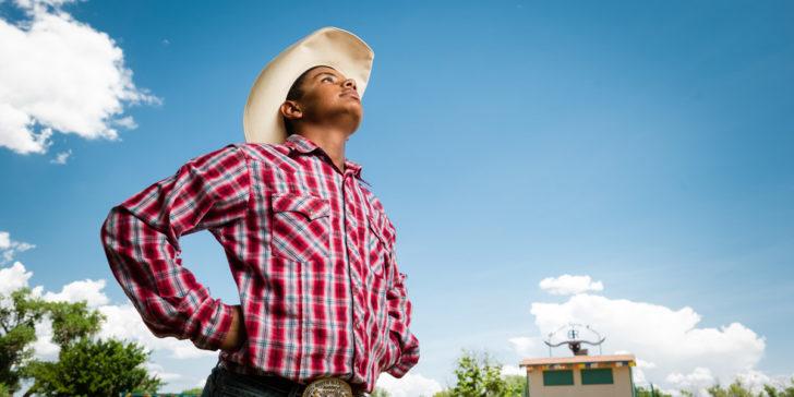 Isaiah enjoys the Boys Ranch Rodeo spotlight