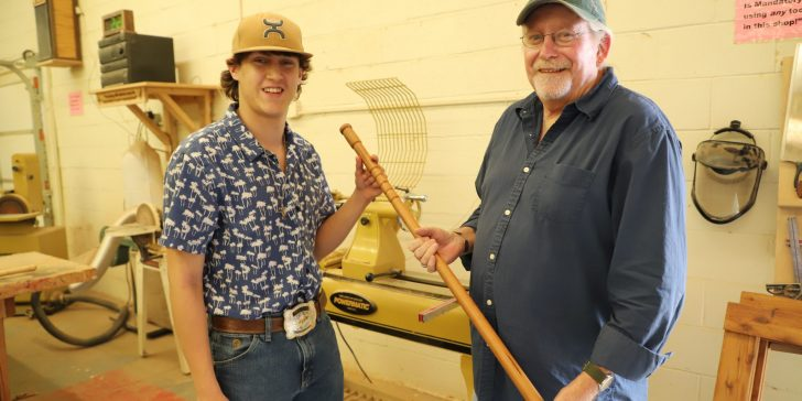 Hand-made cane creates bond for resident, employee